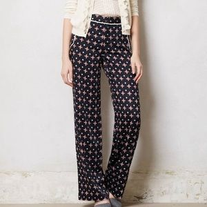 Anthro Elevenses Wide Leg Printed Pant Trousers